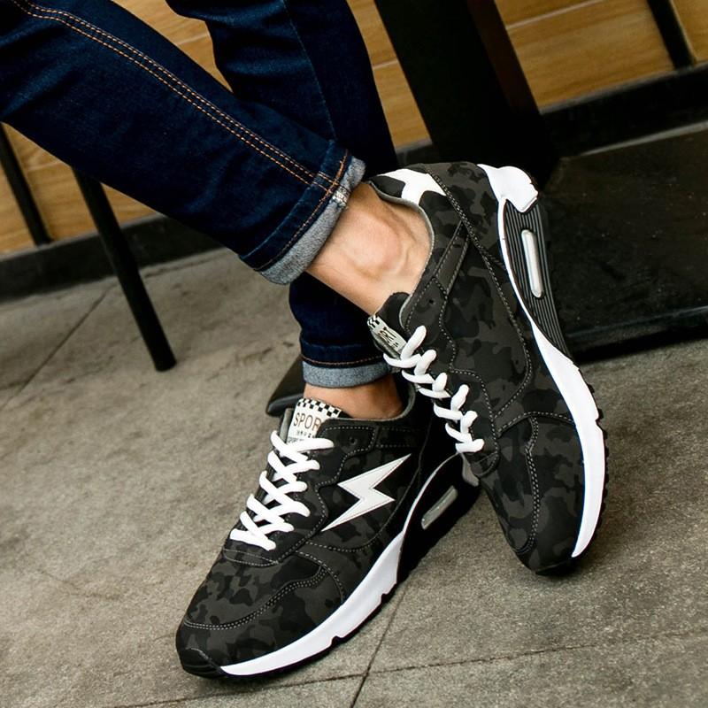 品牌男士增高氣墊跑鞋緩震防滑戶外網布 鞋