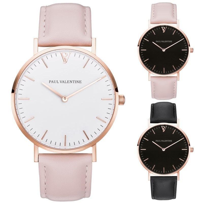 PAUL VALENTINE 皮帶手錶休閒女士男士奢侈品牌簡單石英模擬手錶金皮錶帶手錶