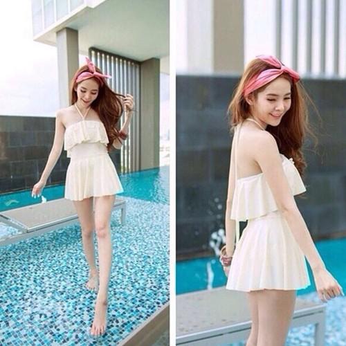 泰國小胸高腰荷葉邊顯瘦連身平口綁帶鋼圈泳裝泳衣比基尼