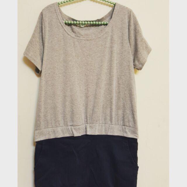 連身裙連身拼接口袋洋裝(WQ0226 )