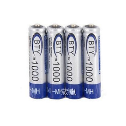 WLder BTY 1000 4 號鎳氫充電電池四顆一組手電筒充 充電座1 2V 1000