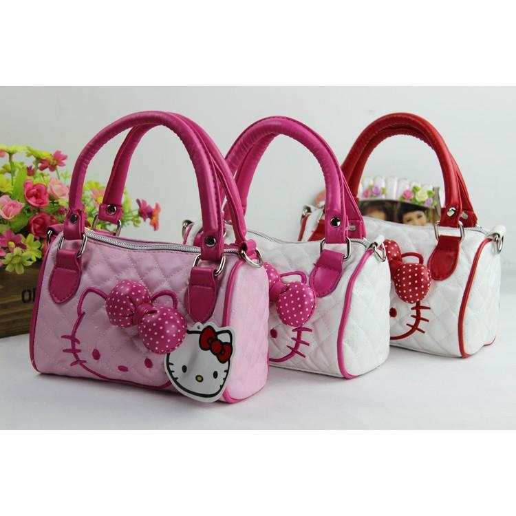 _ Hello Kitty 的兒童手提斜挎包明星同款王詩齡包包蝴蝶結手提包