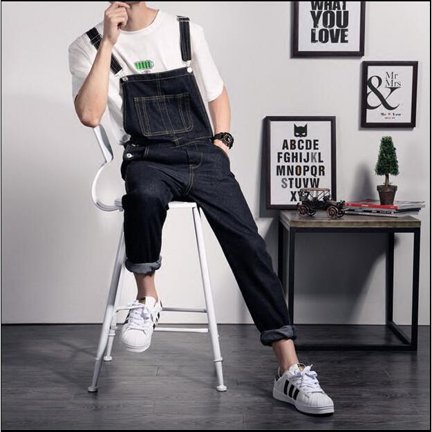 日系春秋男士背帶褲潮流 英倫小腳吊帶褲修身連體牛仔長褲