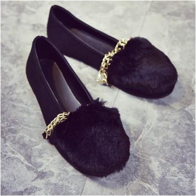 ~衣詩衣倩のღ~2016 鞦鼕季 鏈條兔毛尖頭平跟單鞋女平底鞋毛毛鞋豆豆女鞋
