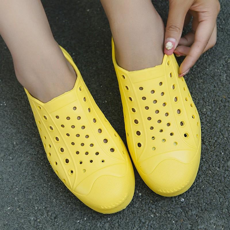冰涼夏日開口笑情侶純色洞洞鞋男女鞋套腳涼鞋拖鞋沙灘鞋橡膠洞洞鞋戶外休閒鞋