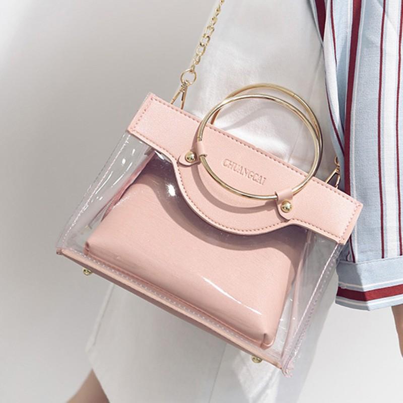 LZ 賣場2017 夏 韓塑料透明鐵環手提包簡約單肩斜挎果凍包百搭子母包女