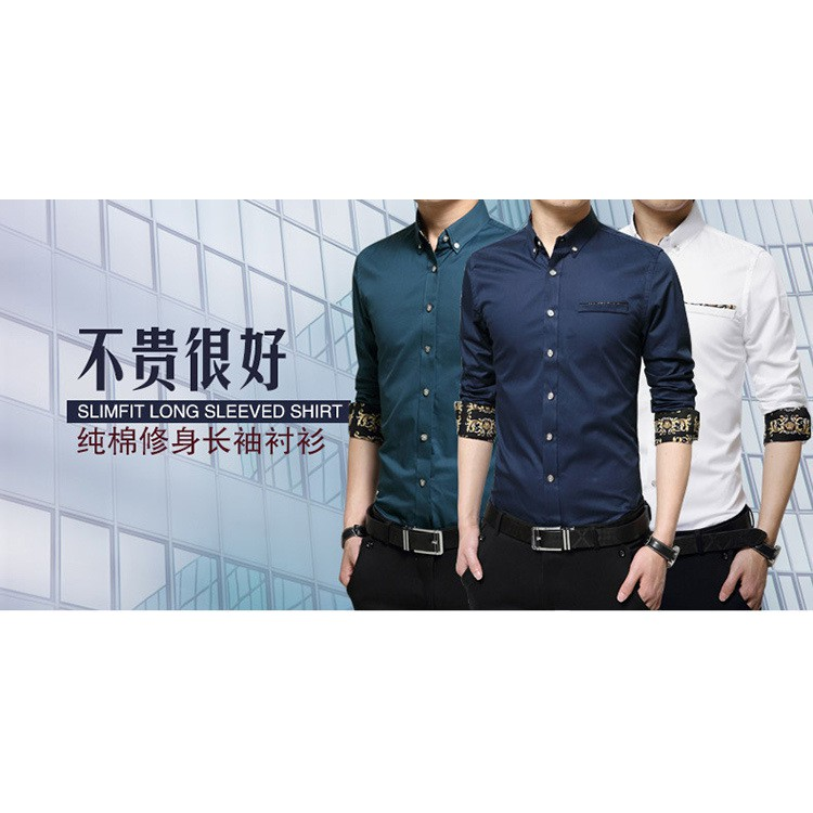 神咖男士 長袖襯衫純棉 休閒襯衣 青年商務休閒男裝白色黑色