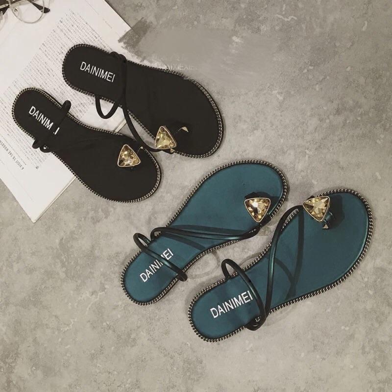 一字帶套趾水鑽平底涼拖鑽石夾腳平跟拖鞋女鞋
