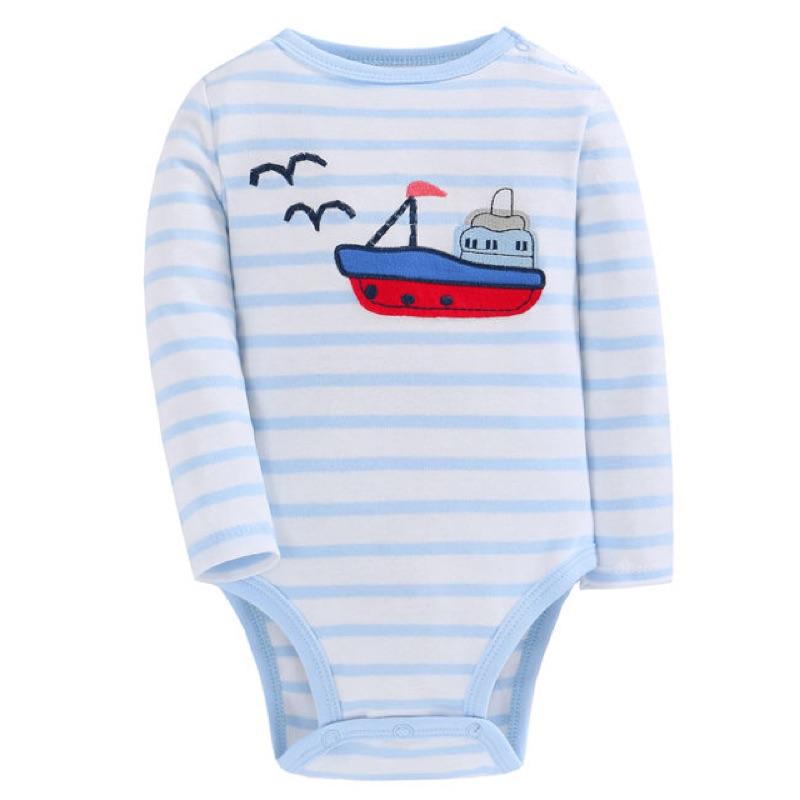 藍白條紋小帆船包屁衣長袖包屁衣連身衣男童男寶寶