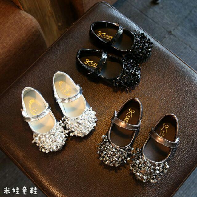鞋內長13 21 9 公分1 12 歲童鞋2017  女童鞋 串珠亮片公主鞋單鞋123YY