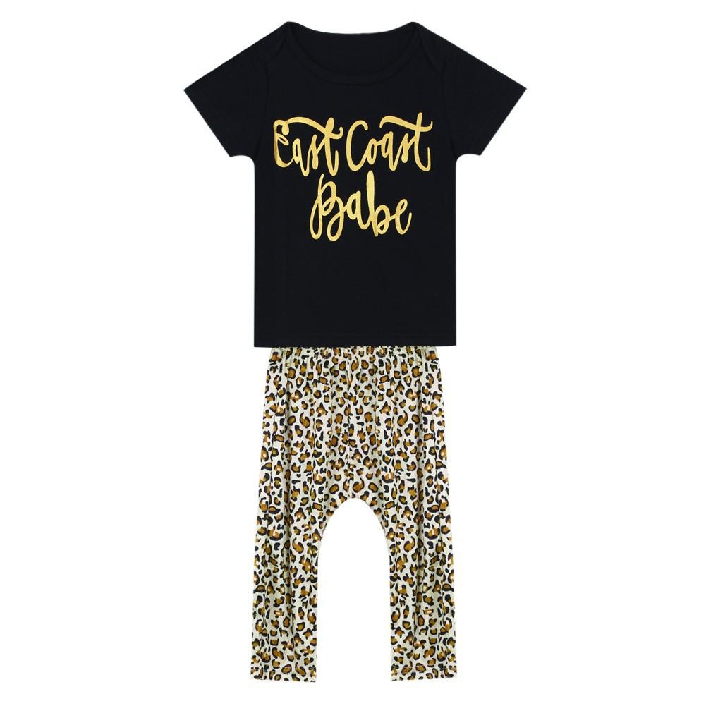 2017 豹紋套裝女童男童上衣褲子兩件套