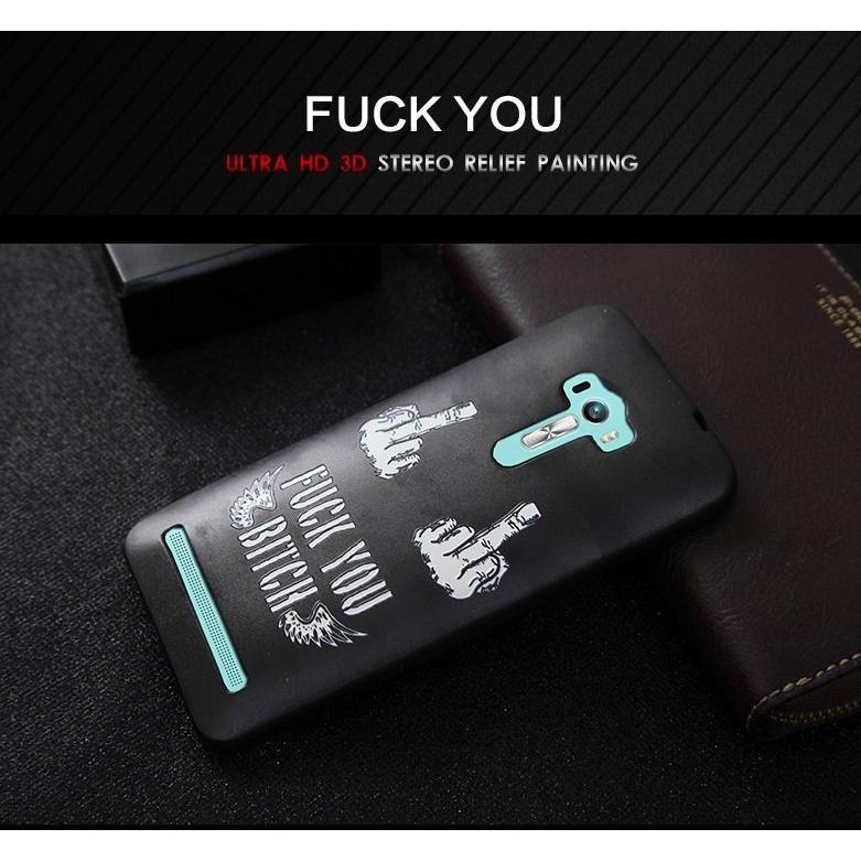 華碩Asus Zenfone Laser 手機殼ZE550KL 5 5 吋黑底中指高清3D