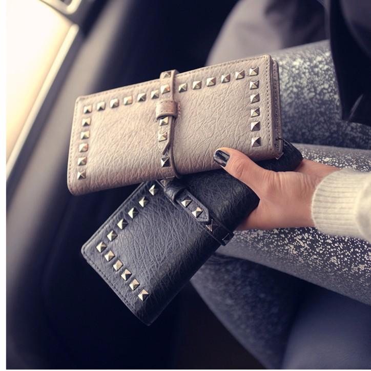 juejiang 摩登 休閒包鉚釘風抽帶式信用卡夾 大容量長夾手拿包手機包手抓包