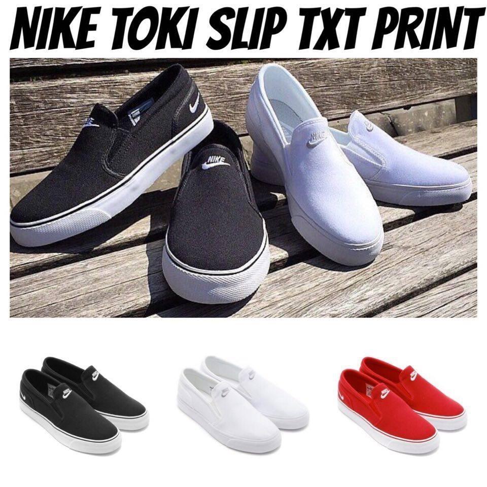 MJ  NIKE TOKI SLIP TXT PRINT 帆布懶人鞋黑白紅休閒鞋