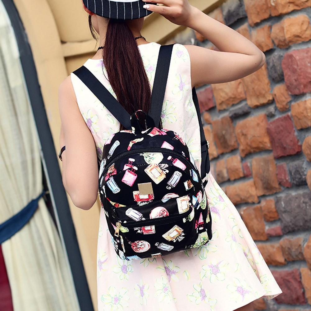 韩版复古香水瓶印花双肩包女包休闲书包旅行pu 背包