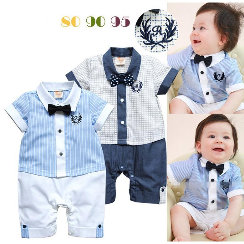 蔓蔓媽咪男寶寶學院風爬服連體衣假兩件滿月百日抓周收涎嬰兒學院風連身衣哈衣紳士領結新生兒