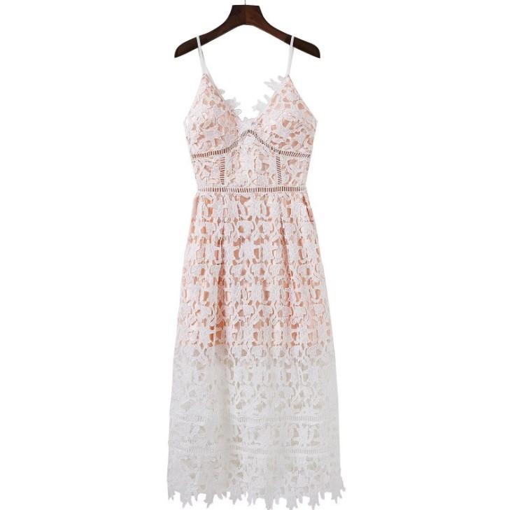 LF6962 品牌唯美性感鏤空網格葉紋蕾絲低胸露背內外長短裙細肩帶洋裝二色