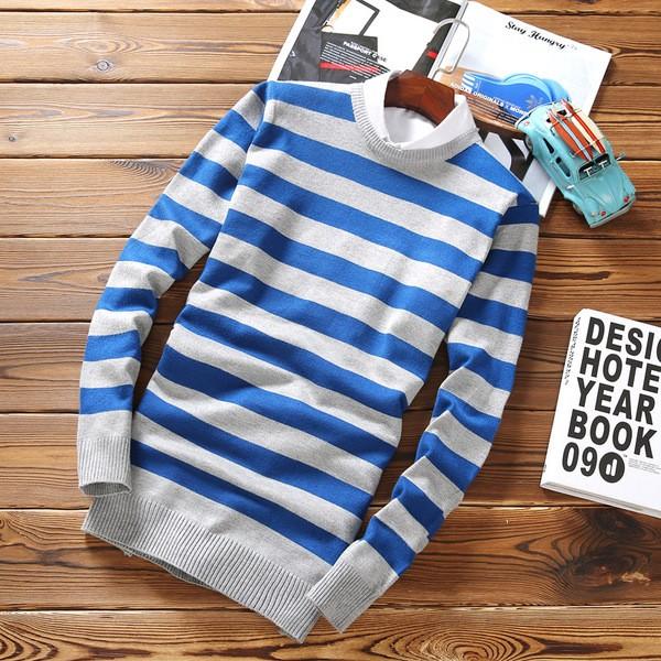條紋針織衫青少年男裝男士圓領毛衣百搭修身針線衫