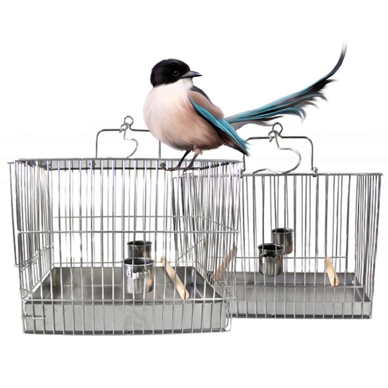 不鏽鋼金屬鳥籠畫眉鳥洗澡籠相思八哥鳥籠鹦鹉籠大號小號JJ0481