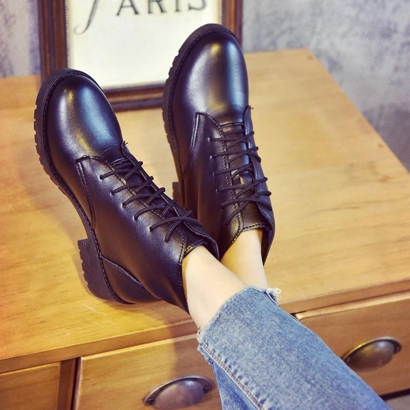 秋  ~潮流尚裝~2016 馬丁靴女英倫風短靴子女棉鞋粗跟皮靴短筒女靴及裸靴 女鞋