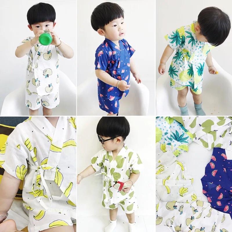 蓁誠 女童男童兒童寶寶小童舒服透氣日式兩件式短袖上衣短褲套裝和服睡衣鳳梨西瓜蘋果