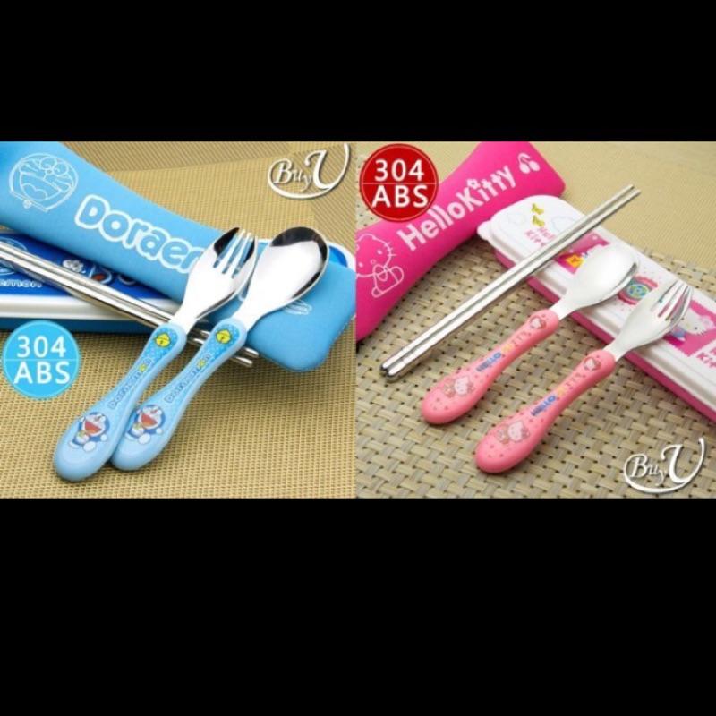 304 不鏽鋼小叮噹Hello kitty 兒童叉子筷子湯匙套裝便攜餐具兒童餐具環保餐具