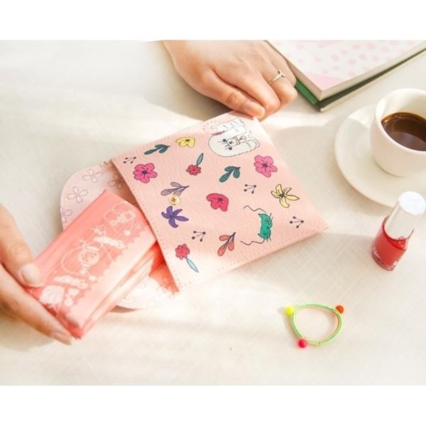 ~F U ~ 實拍可愛衛生棉包花花世界卡通動物女士女用錢包零錢包皮夾長夾中夾短夾手拿包包