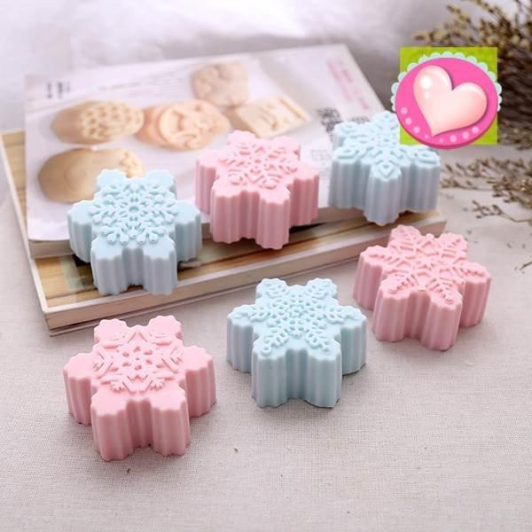 142 DIY 樂樂不同款6 連雪花巧克力模具矽膠模具果凍模巧克力模型冰塊模型 皂模製冰盒