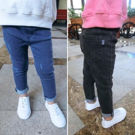 黑藍100  兒童修身彈力牛仔褲男童女童小童寶寶純棉牛仔小腳褲