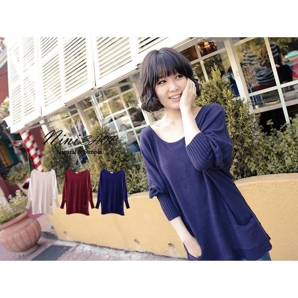 (Nini shop 中大 )~F39163 ~雙口袋束袖 針織上衣酒紅