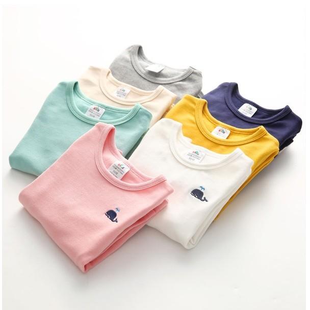 E976 寶寶小鯨魚T 恤女童長袖上衣兒童長袖打底衫MAMA 咪呀 衣鋪
