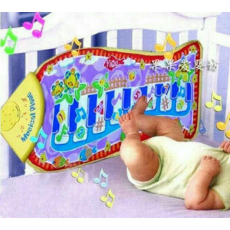 嬰兒魚形觸摸琴遊戲毯遊戲墊音樂爬行地毯