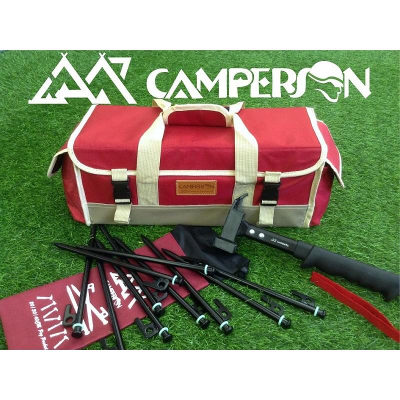 ~露營用品真 ~CAMPERSON 多 工具箱套組入門款 工具箱鐵鎚營釘高碳鋼收納箱露營帳