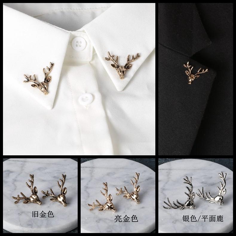 森系小鹿胸針襯衣領針領扣簡約 襯衫領花領角夾西裝胸針別針
