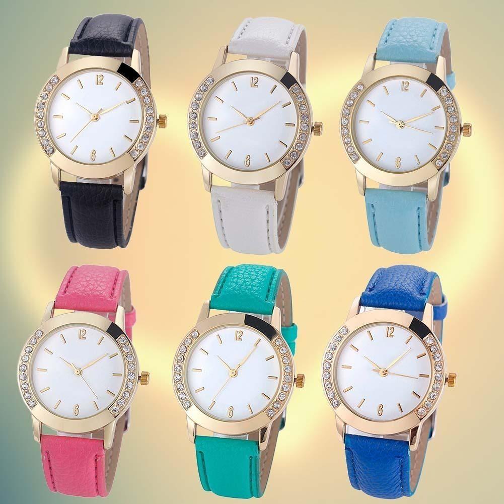 Geneva 女裝68 女士鑽石模擬皮革石英腕錶手錶甜美浪漫簡約風格不銹鋼 氣質女錶