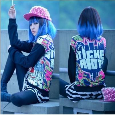 日常混色漸變藍混黑短髮甜美女孩潮流直髮bobo 頭梨花頭原宿假髮cosplay 天藍樹