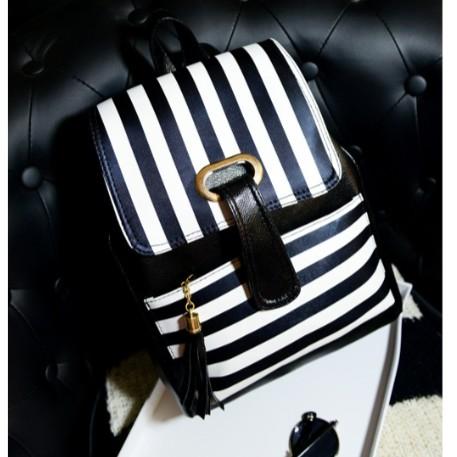 juejiang 黑白條紋印花流蘇雙背包學生書包後背包側背包水桶包