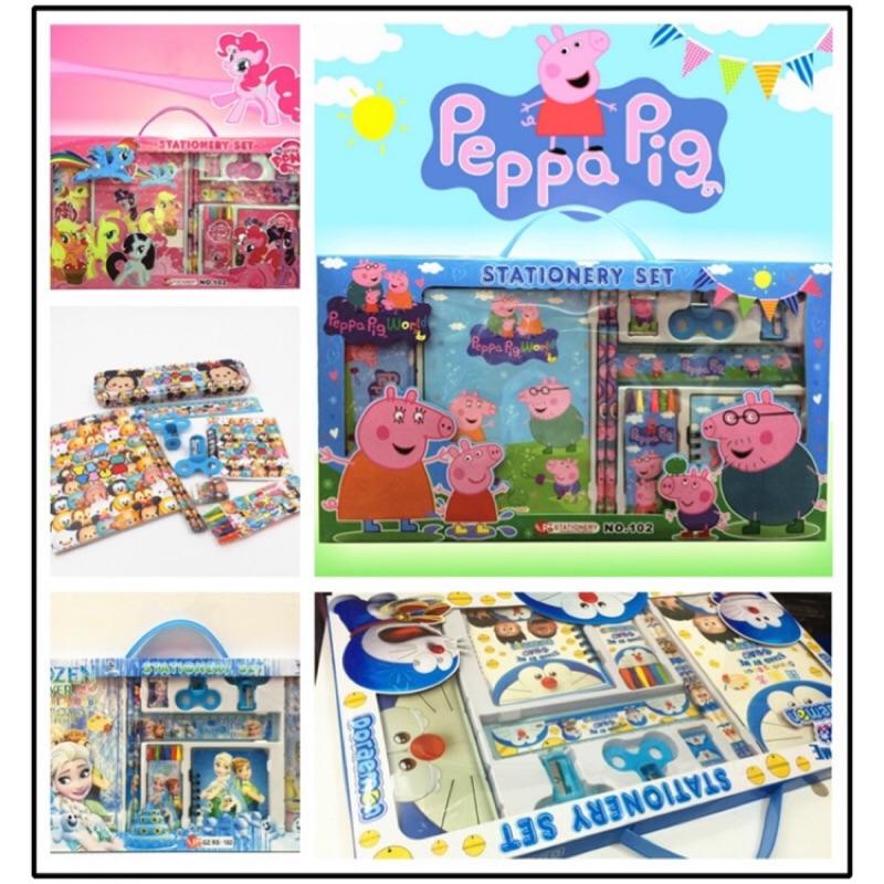佩佩豬卡通兒童文具 套裝小馬寶莉米奇冰雪奇緣公主文具組鉛筆擦子削鉛筆機蠟筆直尺鉛筆盒小玩童