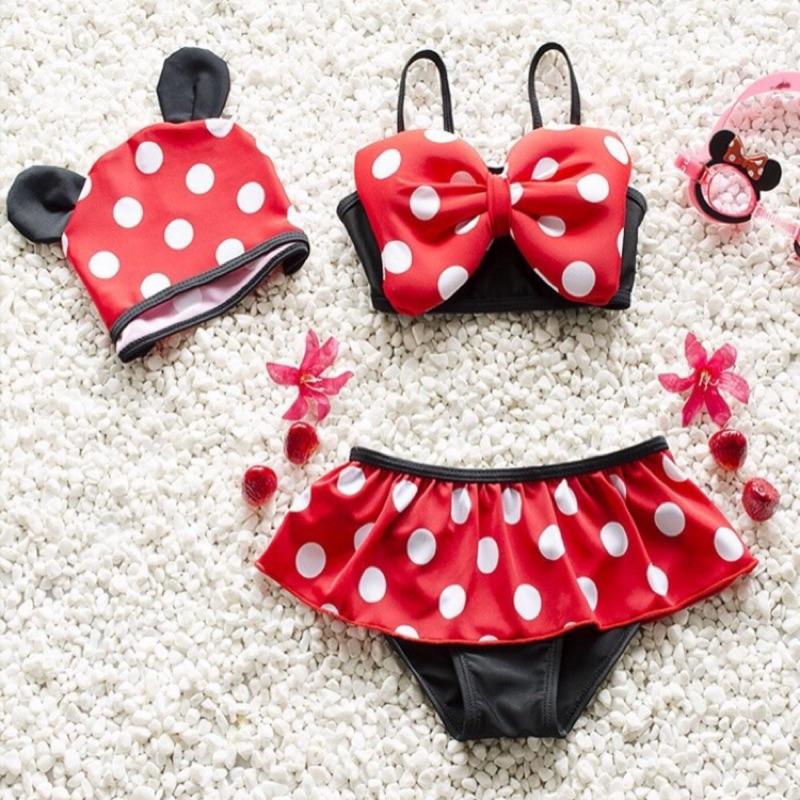 米妮蝴蝶結比基尼泳裝泳衣附泳帽女童寶寶兒童泳鏡
