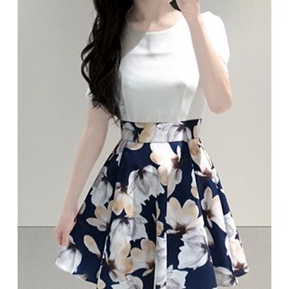 日 短袖修身圓領收腰雪紡連衣裙花色