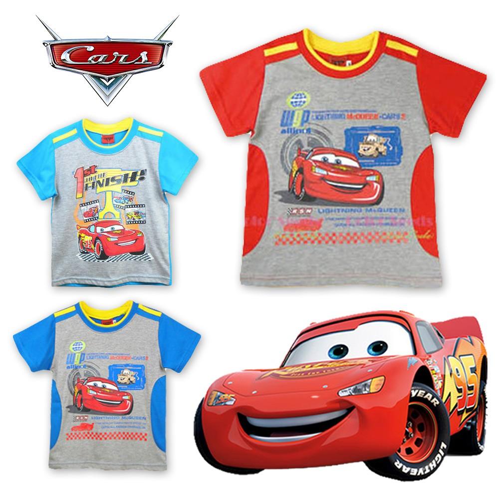 短袖棉T 恤上衣迪士尼Disney 臺灣制Cars 麥坤男童純棉藍色紅色水藍拼色