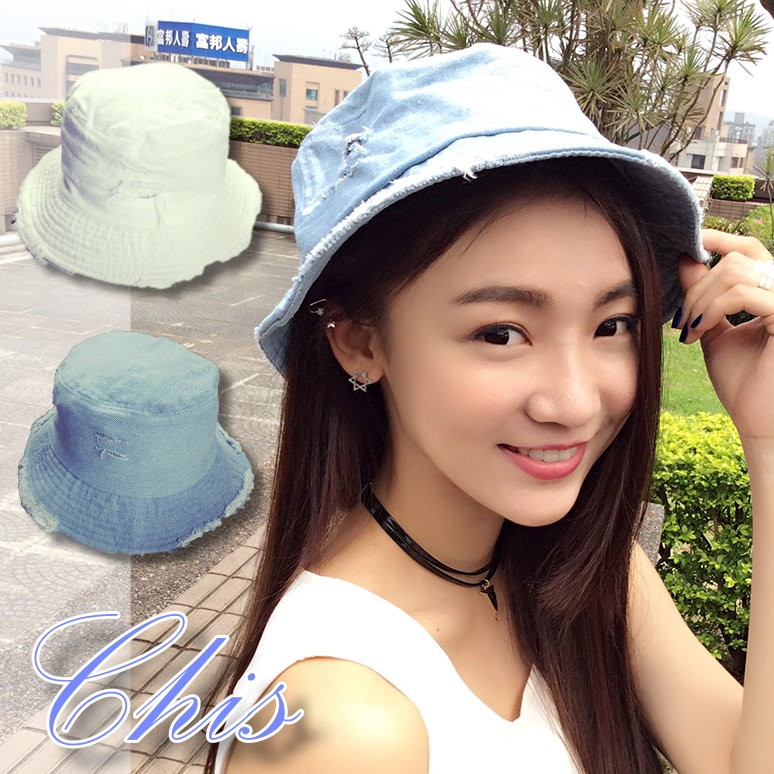 Chis Store ~刷破牛仔帽盆帽~韓國簡約素面磨破感破洞丹寧帽牛仔藍毛邊漁夫帽遮陽帽