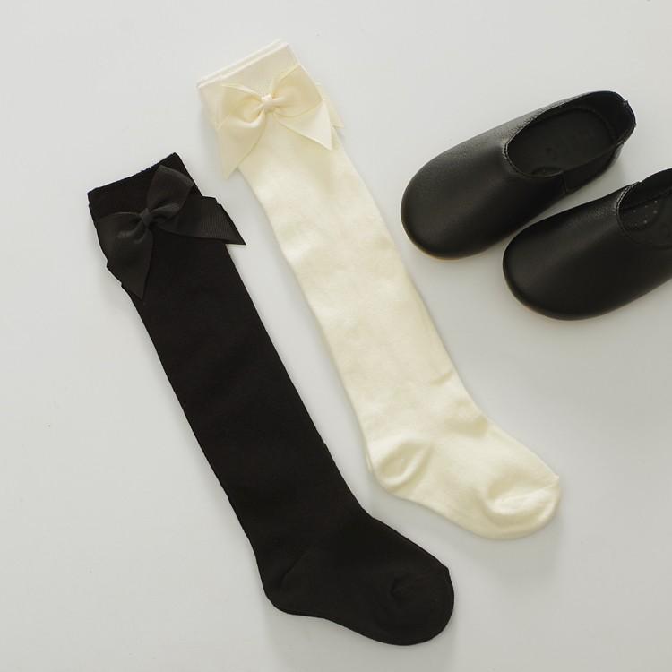 ~春款 ~簡約氣質素色大蝴蝶結中筒襪黑色