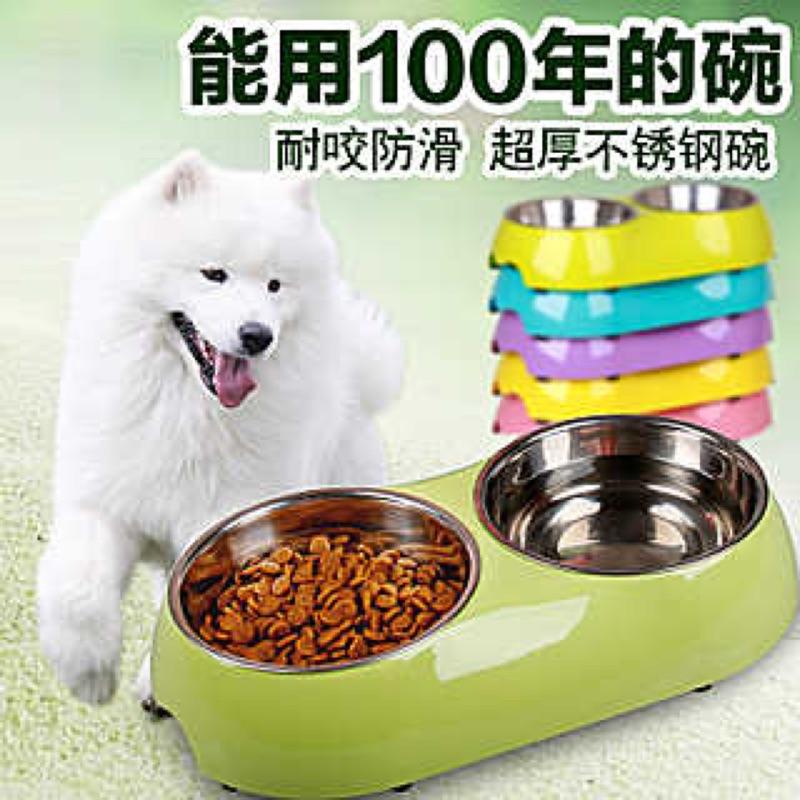 狗碗雙碗不鏽鋼泰迪比熊食盆金毛薩摩防滑喝水盆貓碗寵物用品