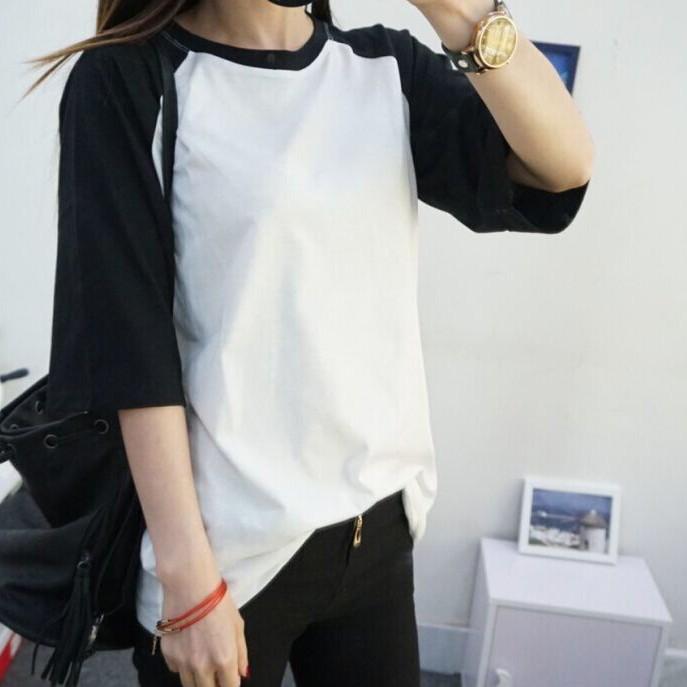 短袖T 恤學院風素面撞色圓領短袖T 恤~F27672 ~