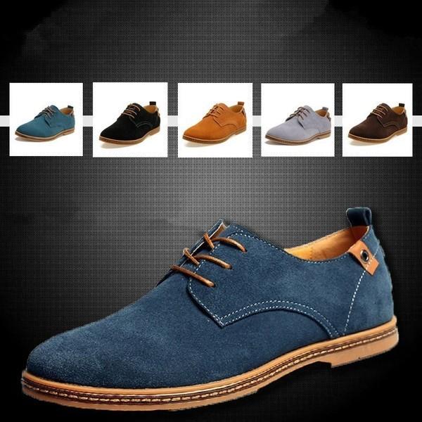 男士牛皮休閒鞋反絨皮牛筋板鞋磨砂皮真皮皮鞋大碼潮流男鞋英倫風