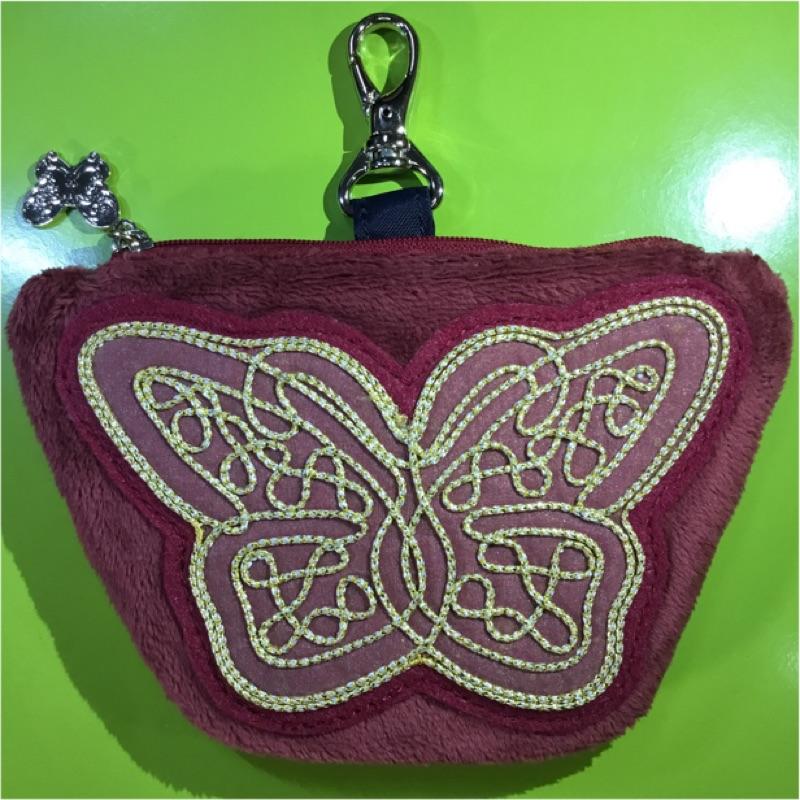 Anna Sui全新正品酒紅色絨毛布面蝴蝶手拿包可吊掛零錢包收納包化妝包