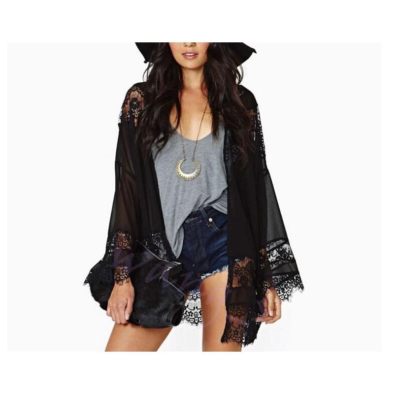雪紡和服蕾絲花邊拼接和服長袖披肩外套飄逸黑色雪紡和服蕾絲花邊罩衫