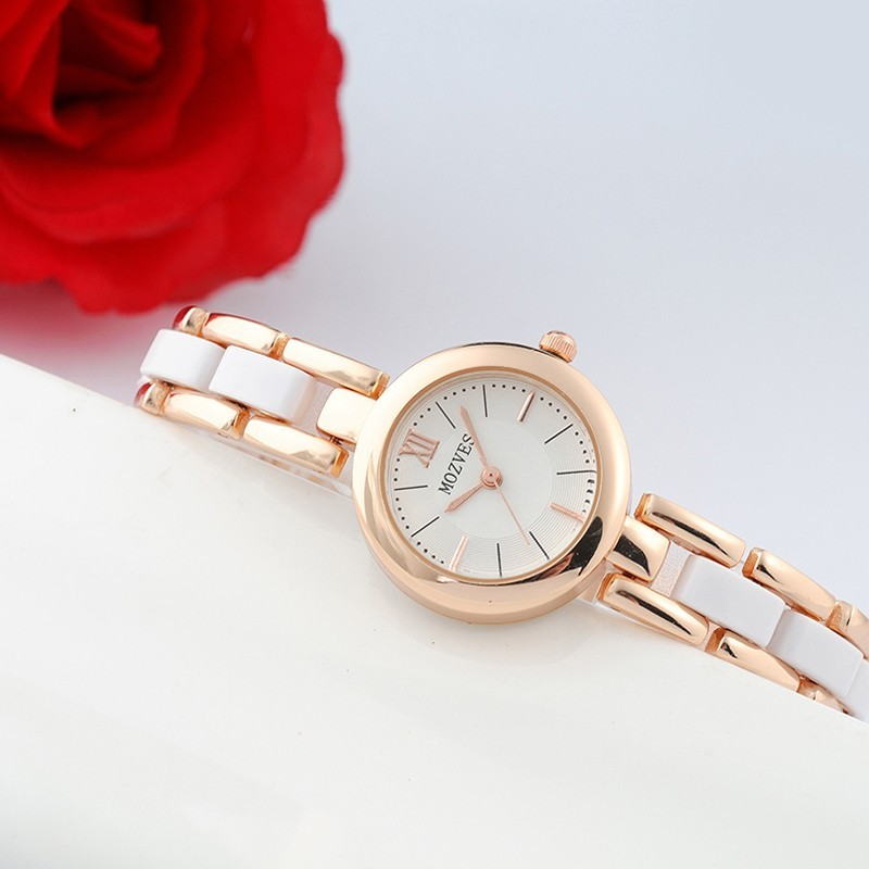 〖 衣櫃〗 潮流手錶女士唯美 復古手鏈錶女生陶瓷白色防水石英錶