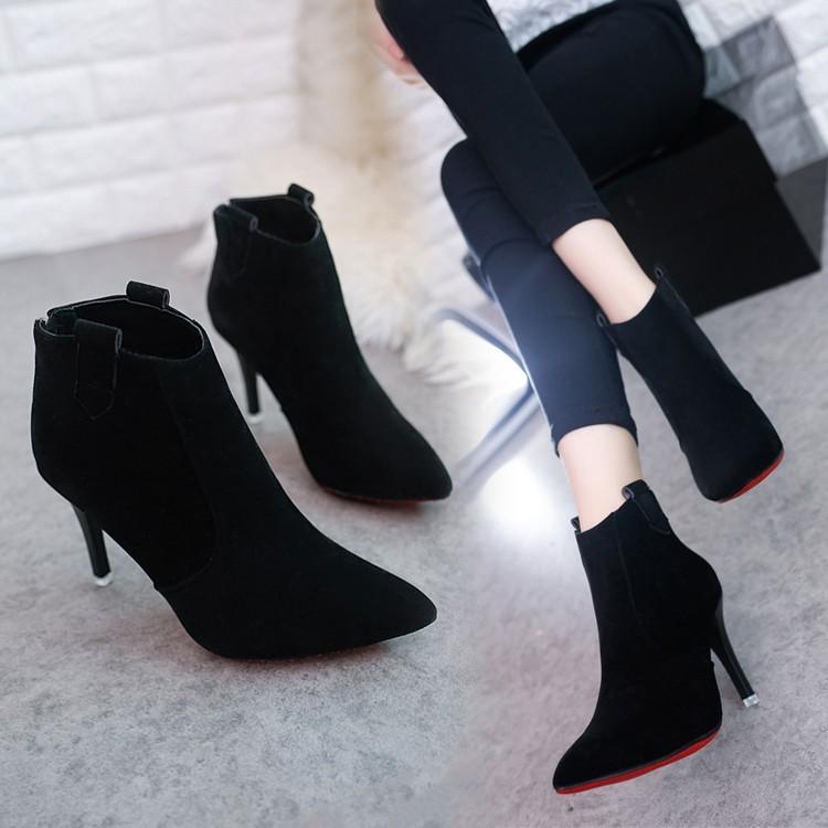 磨砂裸色高跟鞋短靴女春秋單靴尖頭馬丁靴裸靴女靴細跟靴子